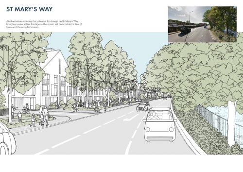 conceptual vision for St Mary's Way within Chesham Masterplan 2017