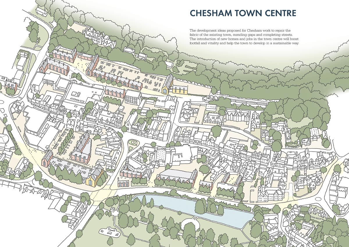 conceptual town centre view within Chesham Masterplan 2017